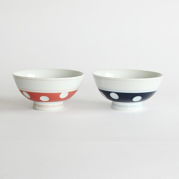 肥前吉田焼 水玉 ごはん茶碗 2客セット