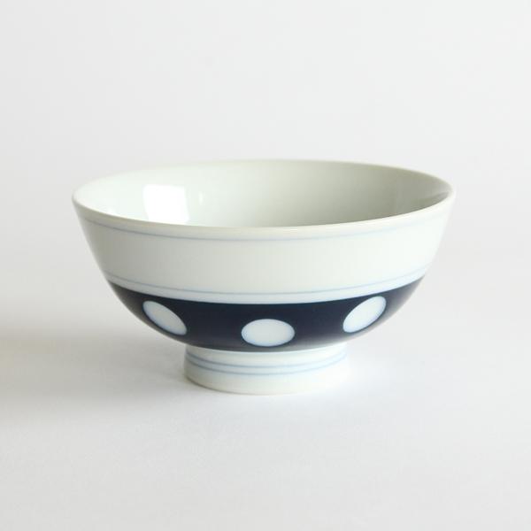肥前吉田焼 水玉 ごはん茶碗 青色