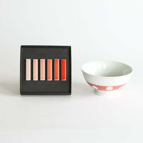 肥前吉田焼 水玉 ご飯茶碗 箸置きセット