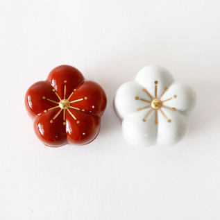 Small porcelin container Plum Red and White