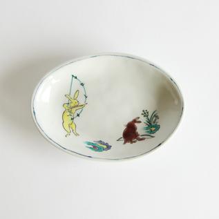 鳥獣戯画だ円小皿