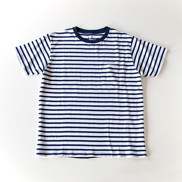 クルーネックポケット付半袖Tシャツ(白×ネイビーボーダー柄)