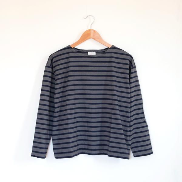 ドロップショルダー バスクシャツ(オーバーダイ)(OFF BLACK/MARINE)