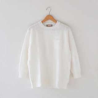 CREW NECK SWEATER WITH POCKET  OFF WHITE