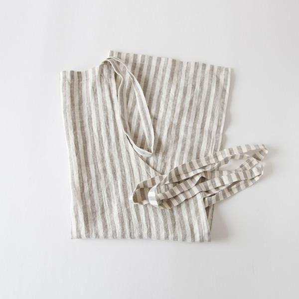 リネンエプロン Regular apron Stripe(Natural White Stripe)