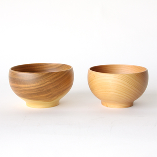 WOODEN SOUP BOWLS PAIR CHRRY