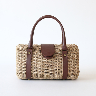 REED HANDBAG WITH LEATHER HANDLES