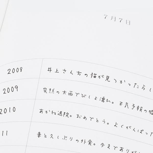 1ページに10行(10年分)あり、毎日過去の自分を振り返る事ができる日記