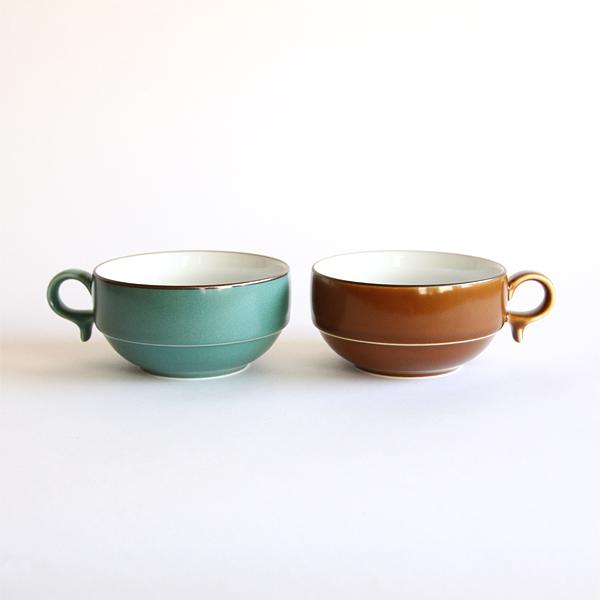 S型スープボール 2個セット(茶色/グリーン)
