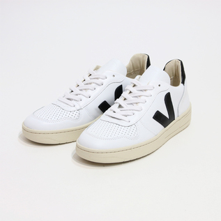 V-10 LEATHER SNEAKERS WHITE-BLACK
