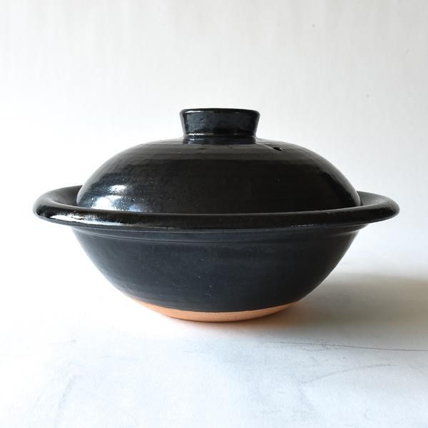 丸土鍋 四人用 天目釉 黒