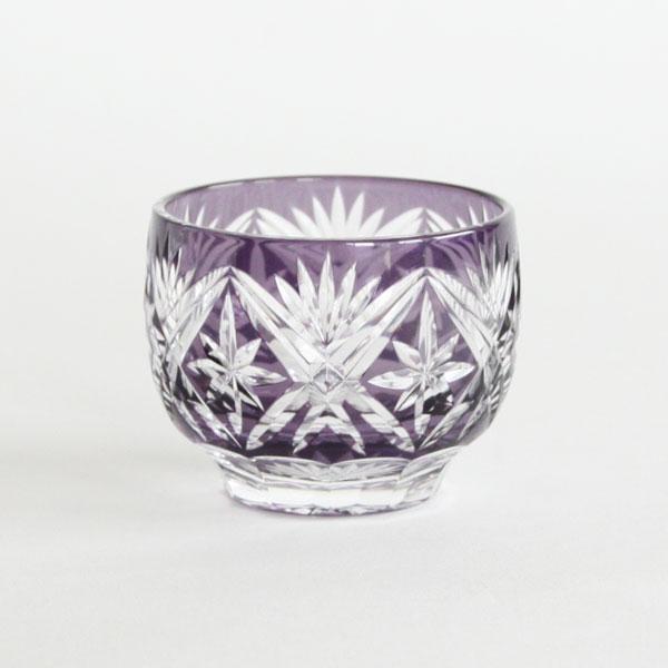 江戸切子 剣菱星文様 ぐい呑み 紫