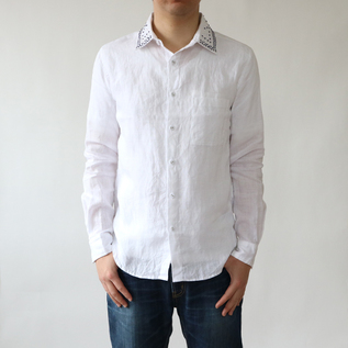 Men Linen embroidered shirt WHITE