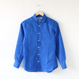 Linen long sleeve shirt round collar Royal