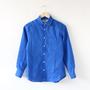 リネンロングスリーブシャツ ラウンドカラー Royal