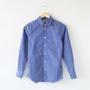 ロングスリーブシャツ ストライプ ラウンドカラー Blue