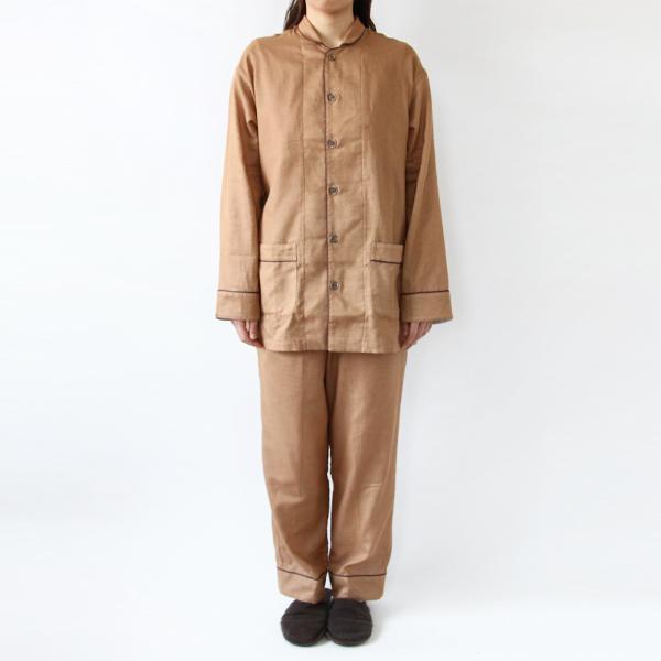 ガーゼパジャマ 柿渋 2重合わせ(モデル身長:167cm 着用サイズ:M)