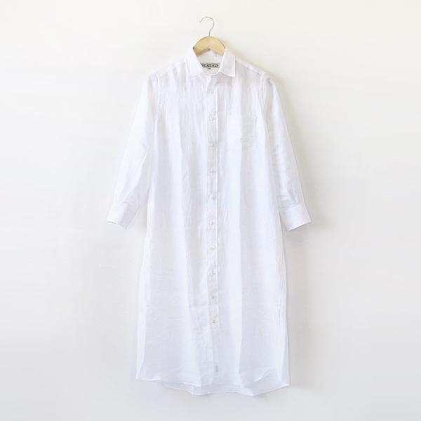 リネンAラインワンピース(White)