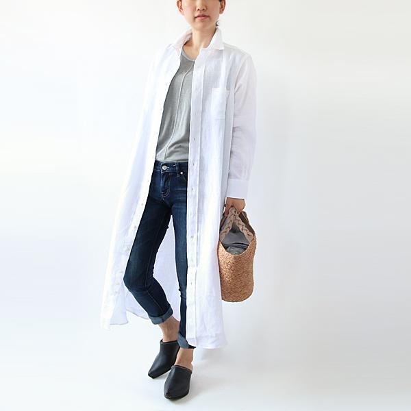 リネンAラインワンピース(White) モデル身長:158cm
