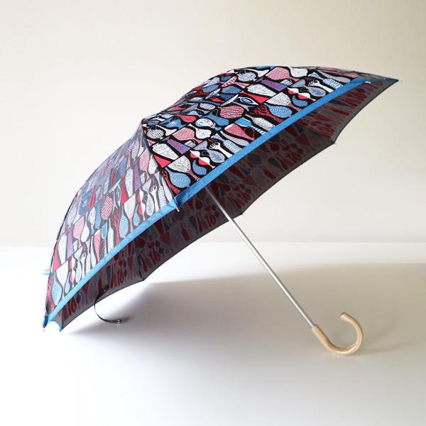 晴雨兼用折り畳み傘 POTTERY(レッド×ブルー)