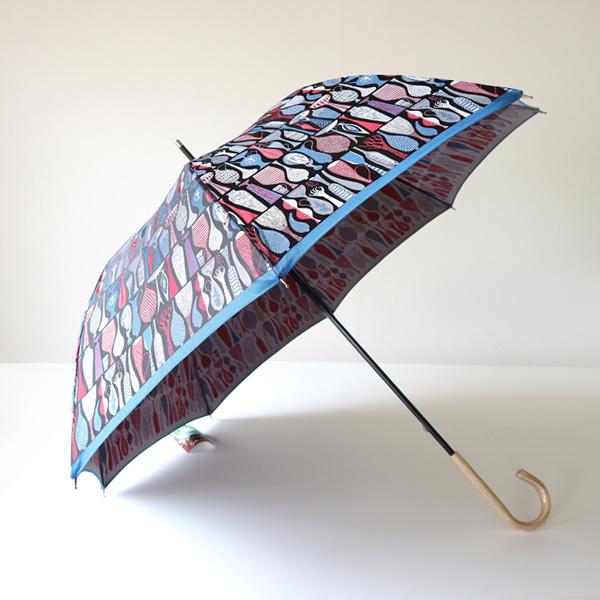晴雨兼用 長傘 POTTERY(レッド×ブルー)