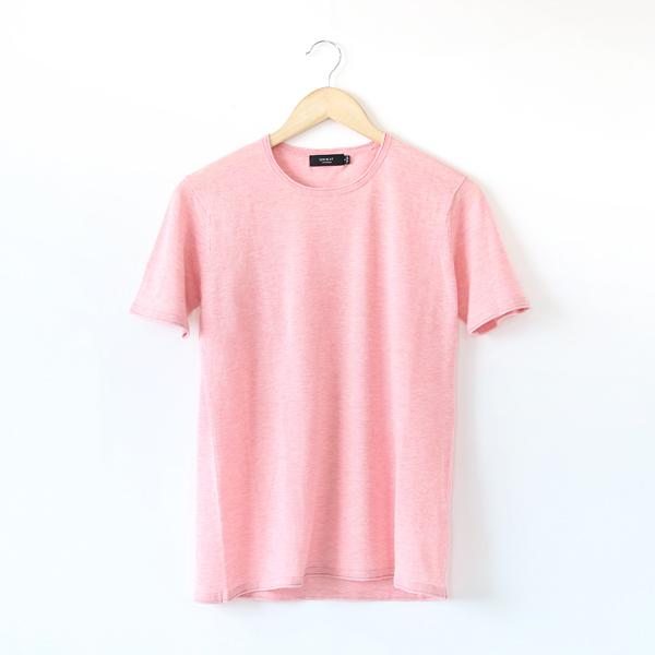メンズ ニットTシャツ(PEALPINK-M)