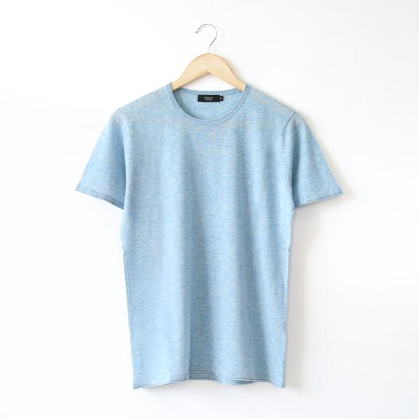 メンズ ニットTシャツ(PEALBLUE-M)