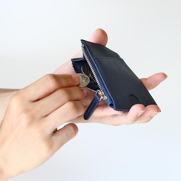 側面片側にマチをつけたスリムなコインケース(NAVY BLUE)