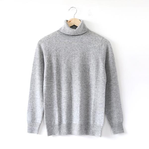 カシミヤ タートルネックセーター(GREY)