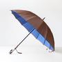 甲州織 長傘 かさね ブラウン/ブルー