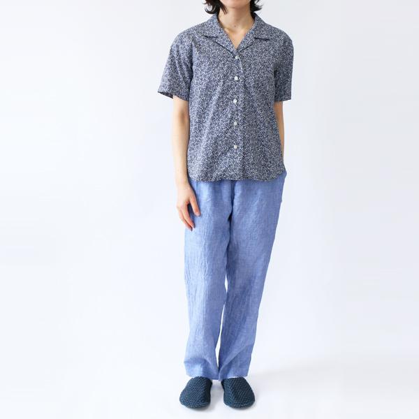 開襟シャツ 小花/NAVY+イージーパンツ1 BLUE(モデル身長:157cm)