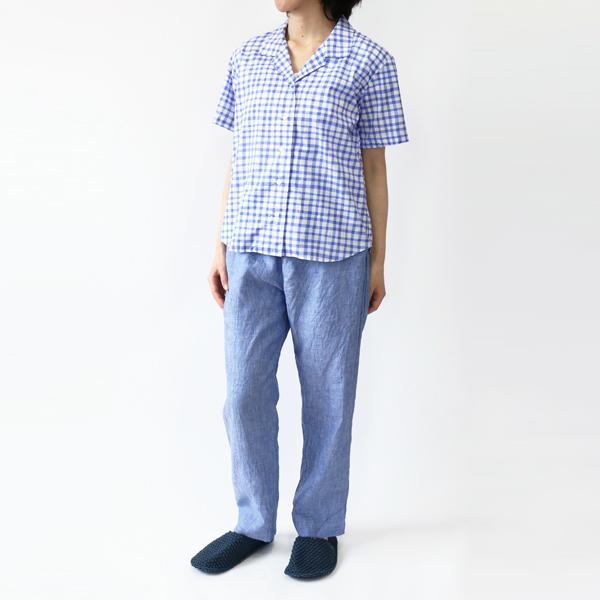 開襟シャツ ギンガムチェック/BLUE+イージーパンツ1 BLUE(モデル身長:157cm)
