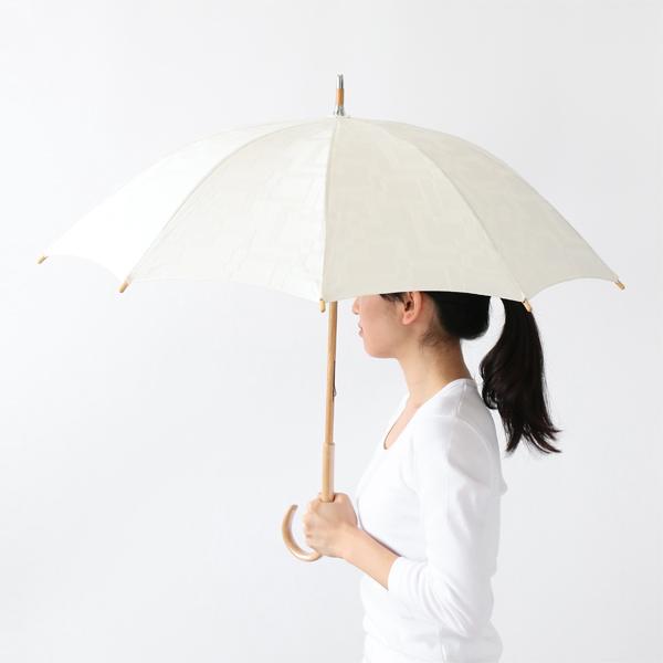 晴雨兼用 長傘 スクエアジャガード ホワイト