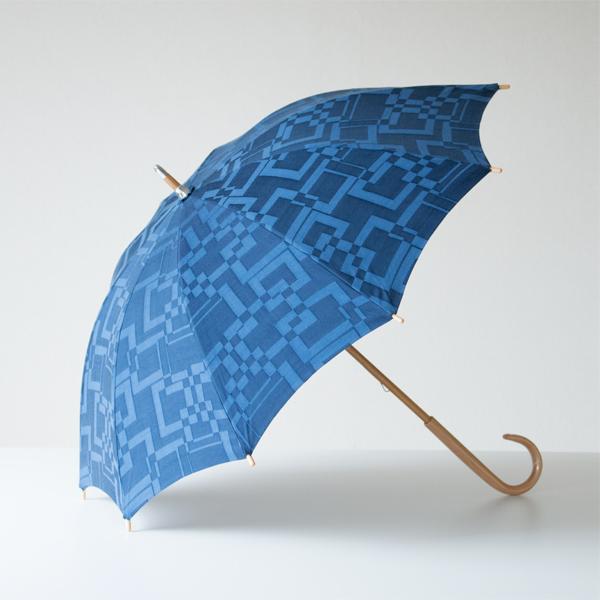 晴雨兼用 長傘 スクエアジャガード ネイビー
