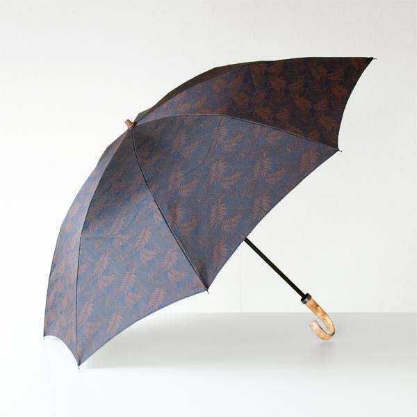 【別注】フォレストジャカード 折りたたみ傘  ネイビー/ブラウン