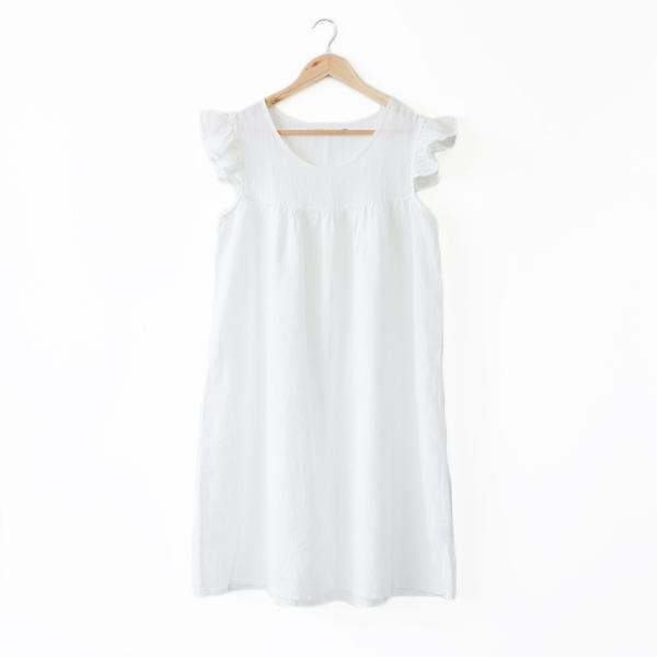 リネンパジャマ ドレス(OPTICAL WHITE)