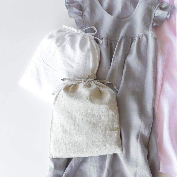リネンパジャマ ドレスが収納できる同色の巾着付き