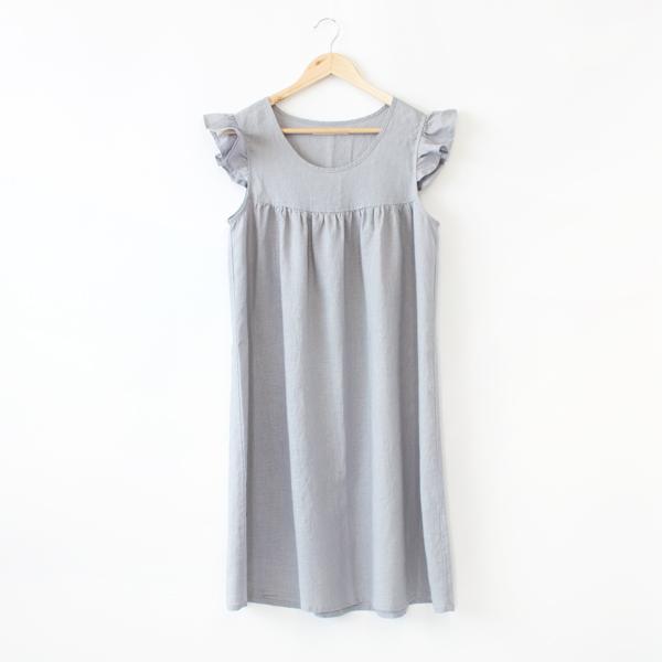 リネンパジャマ ドレス(LIGHT GRAY)