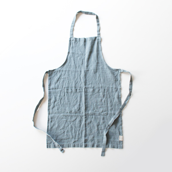 リネンエプロン Regular apron Plain(BLUE FOG)