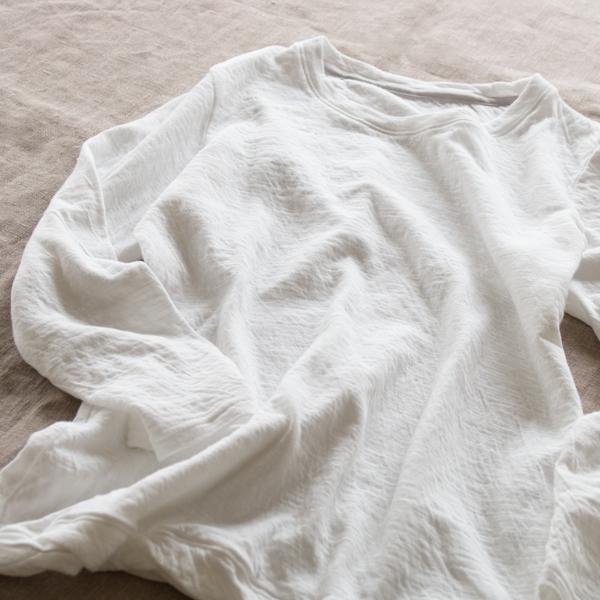 なめらか天竺8分袖Tシャツ(WHITE)