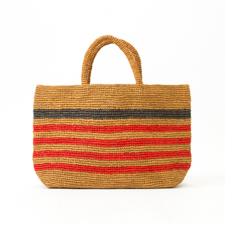 HORIZONTALLY STRIPED RAFFIA BAG