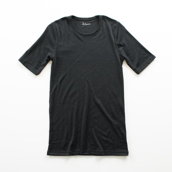 メンズ メリノウール Tシャツ(ブラック)