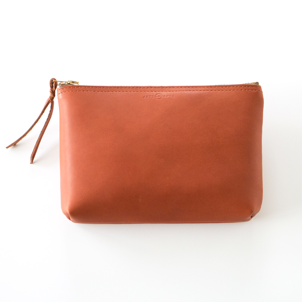 GLOVE LEATHER ZIP-TOP POUCH(BROWN)