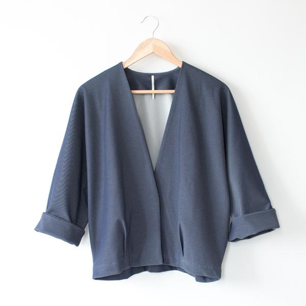 ノーカラージャケット(BLUE)