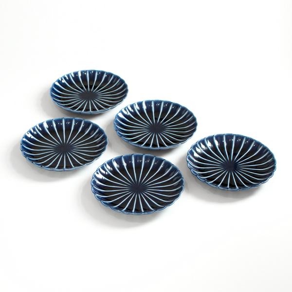 ぎやまん陶4.5寸皿5枚セット(茄子紺ブルー)