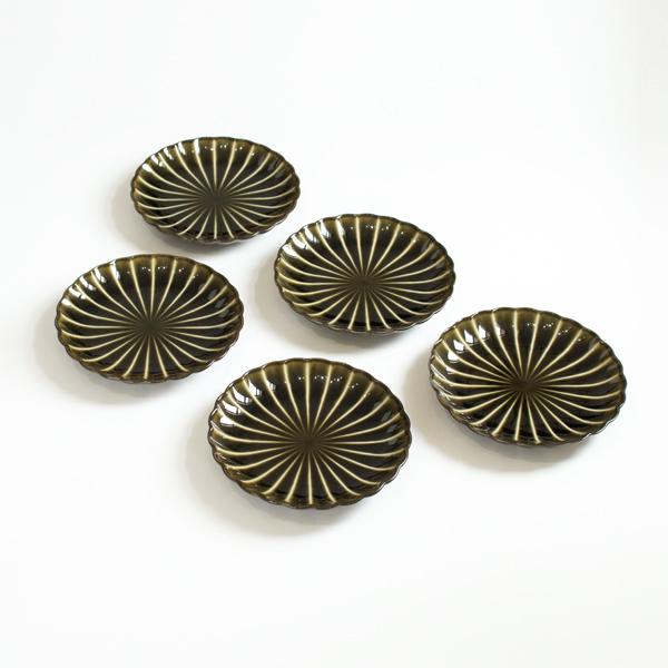 ぎやまん陶4.5寸皿5枚セット(利休グリーン)