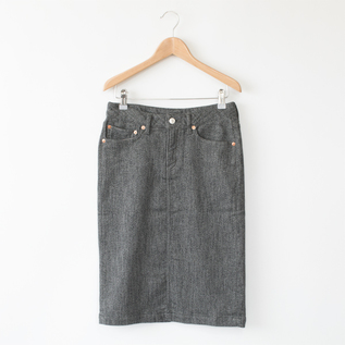 BESPOKE RELAX DENIM SKIRT CHARCOAL HEATHER