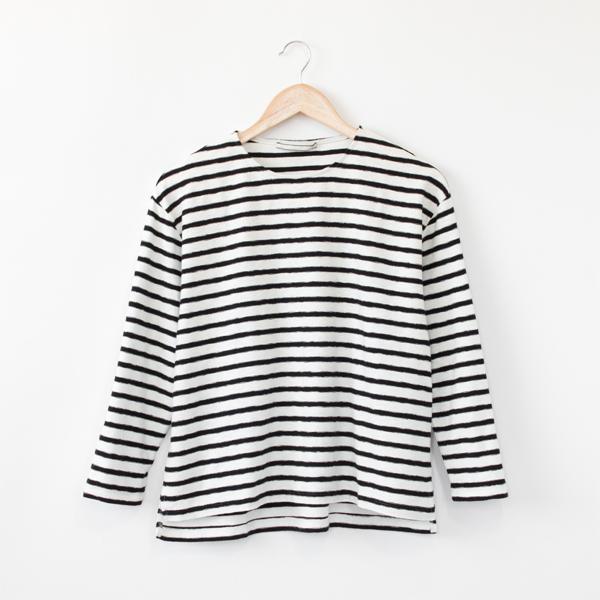 ミニパイルボーダーTシャツ(WHITE/BLACK)