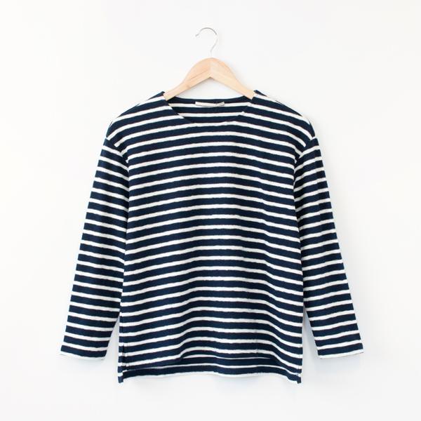 ミニパイルボーダーTシャツ(NAVY/WHITE)