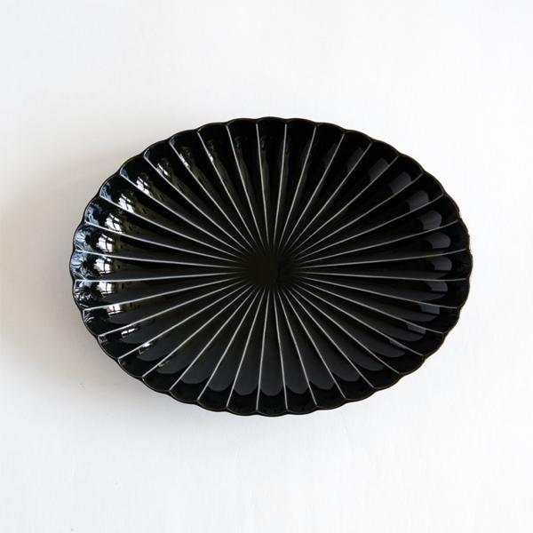 ぎやまん陶 楕円大皿(墨ブラック)